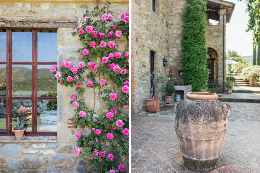 Flowers and Cypress in the villa Col di Marte in Umbria