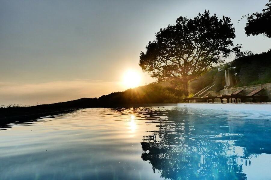 Privater und beheizter Pool der Casa Bramasole in Umbrien