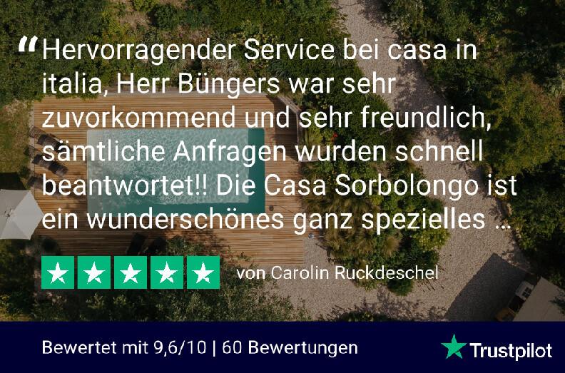 Bewertung auf Trustpilot der Miete von Casa Sorbolongo