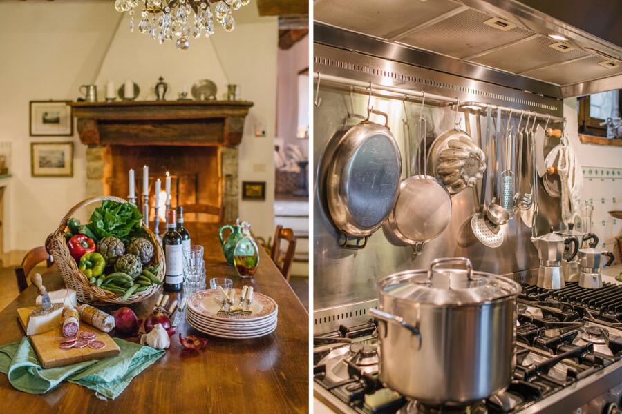 Küche mit offenem Kamin und Herz im Ferienhaus in Italien