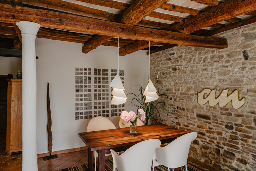 Dining table in the holiday home Casa Sorbolongo in Le Marche