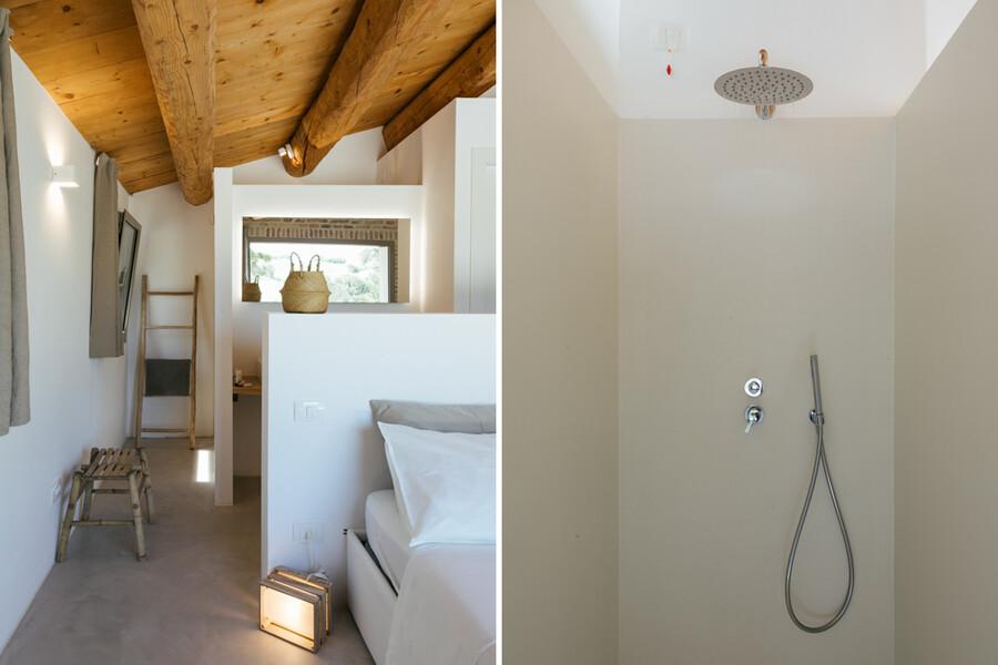 Modernes Bad mit Schlafzimmer in Casa Fontegenga in den Marken